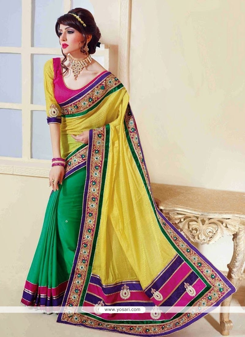 Blooming Green And Yellow Satin And Georgette Half N Half Saree