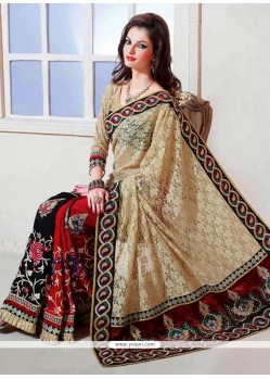 Appealing Multicolored Satin And Faux Chiffon Saree