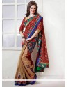 Appealing Beige And Maroon Fancy Fabric And Brasso Half N Half Saree