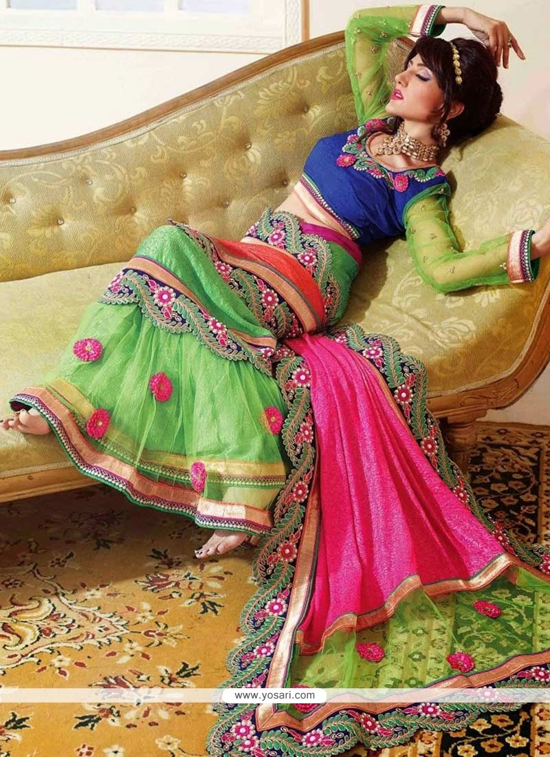 Delightful Green And Pink Shade Crepe And Jacquard Lehenga Saree