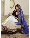 Angelic Off White And Blue Net And Shimmer Georgette Saree