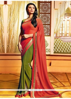Daisy Shah Green And Red Faux Georgette Saree