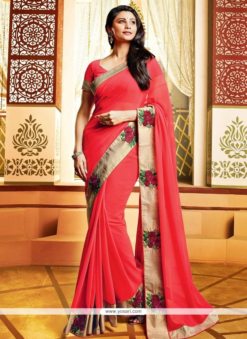 Daisy Shah Style Elite Red Faux Georgette Saree