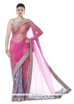 Wonderous Net Embroidered Work Designer Saree