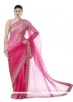 Flawless Embroidered Work Net Designer Saree