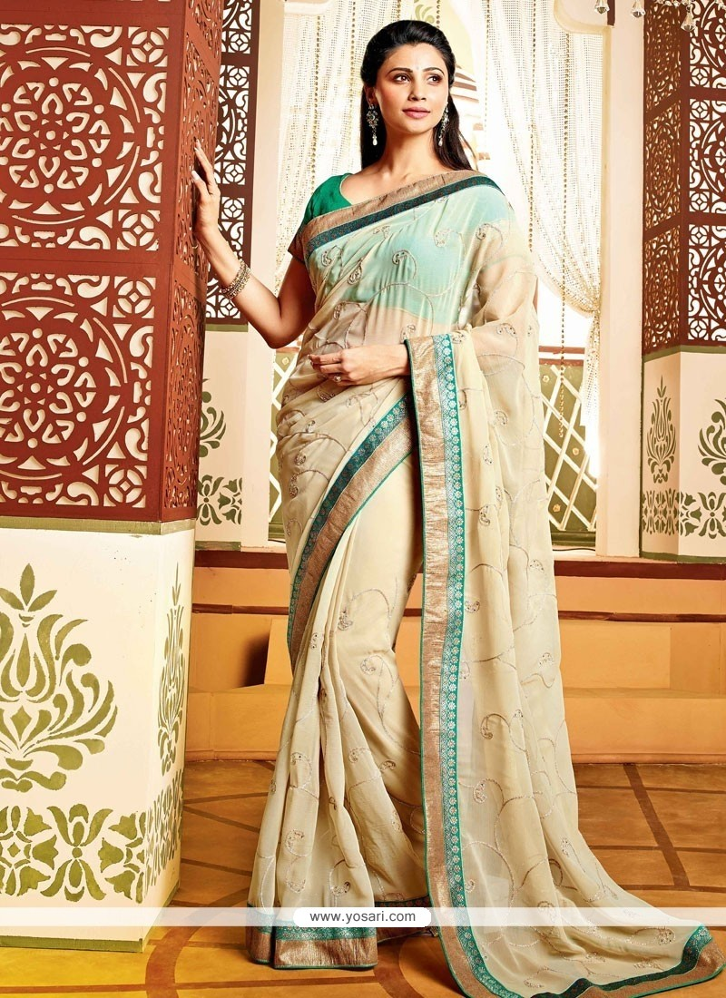 Daisy Shah Style Cream Faux Georgette Party Wear Saree