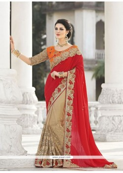 Lordly Georgette Red Patch Border Work Designer Saree