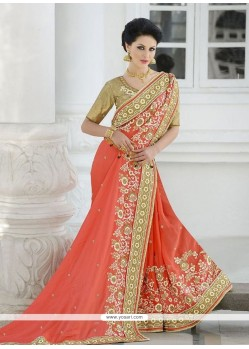 Vibrant Net Patch Border Work Designer Saree