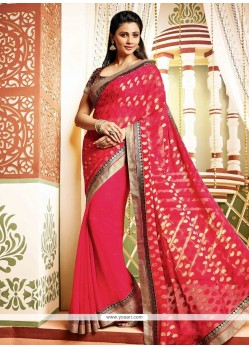 Daisy Shah Style Red Faux Georgette Designer Saree
