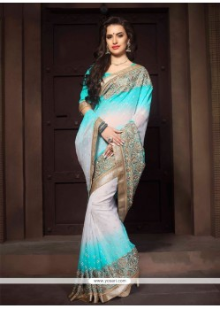 Sightly Patch Border Work Designer Saree