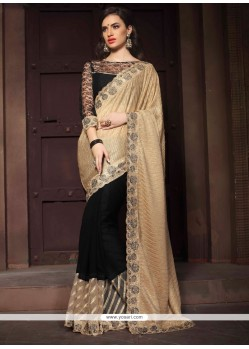 Classy Black Embroidered Work Georgette Designer Saree