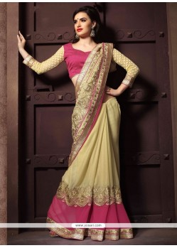 Aspiring Georgette Cream And Pink Designer Saree