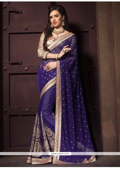 Lustrous Blue Patch Border Work Designer Saree