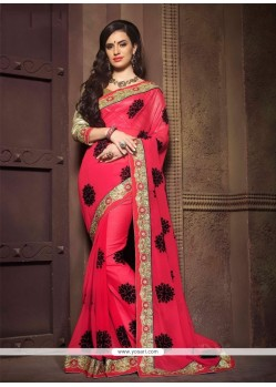 Stupendous Patch Border Work Georgette Designer Saree