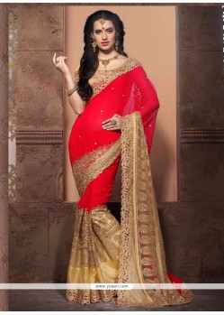 Festal Embroidered Work Georgette Designer Saree