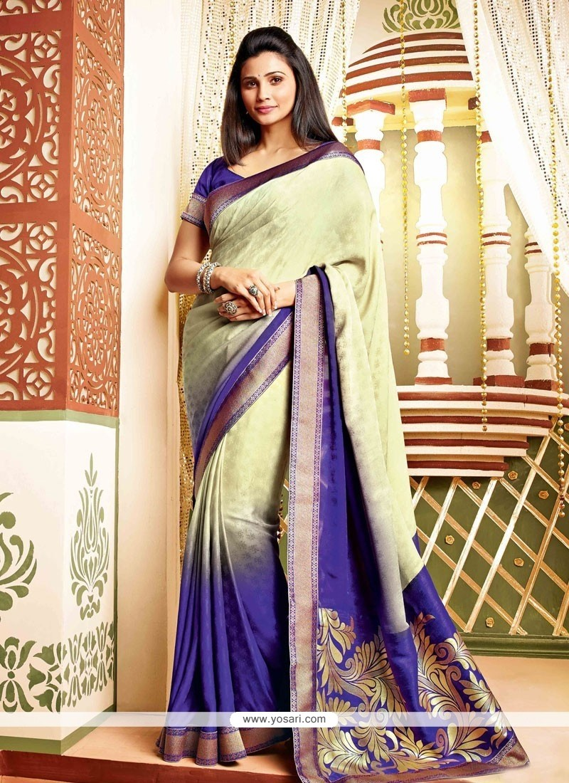 Daisy Shah Blue And Cream Faux Georgette Saree