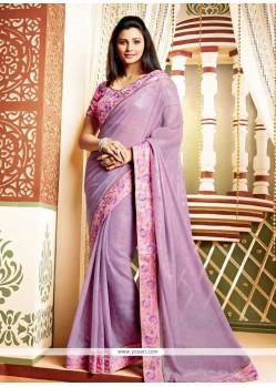Daisy Shah Violet Shade Faux Chiffon Designer Saree