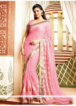 Daisy Shah Lovely Pink Faux Georgette Saree