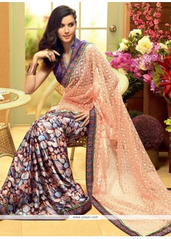Angelic Multicolored And Peach Shaded Satin Half And Half Saree