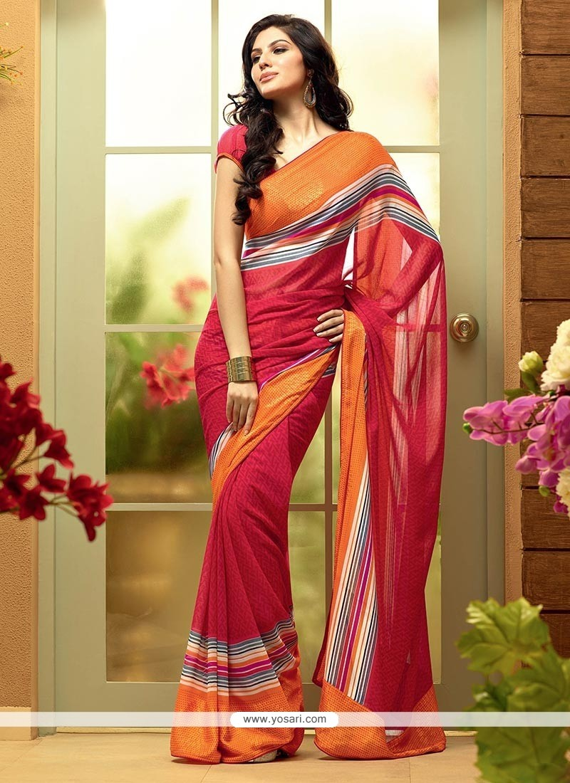 Fashionistic Red Shaded Stripe Printed Georgette Saree