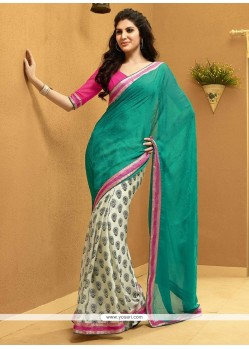 Beauteous Turquoise And Cream Shaded Satin Half And Half Saree