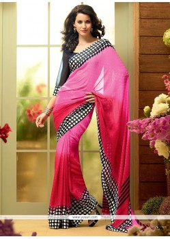 Genius Candy Pink And Bright Pink Shaded Georgette Saree