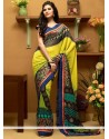 Extraordinary Yellow And Green Shaded Georgette Printed Saree