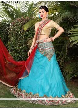Distinctive Turquoise A Line Lehenga Choli
