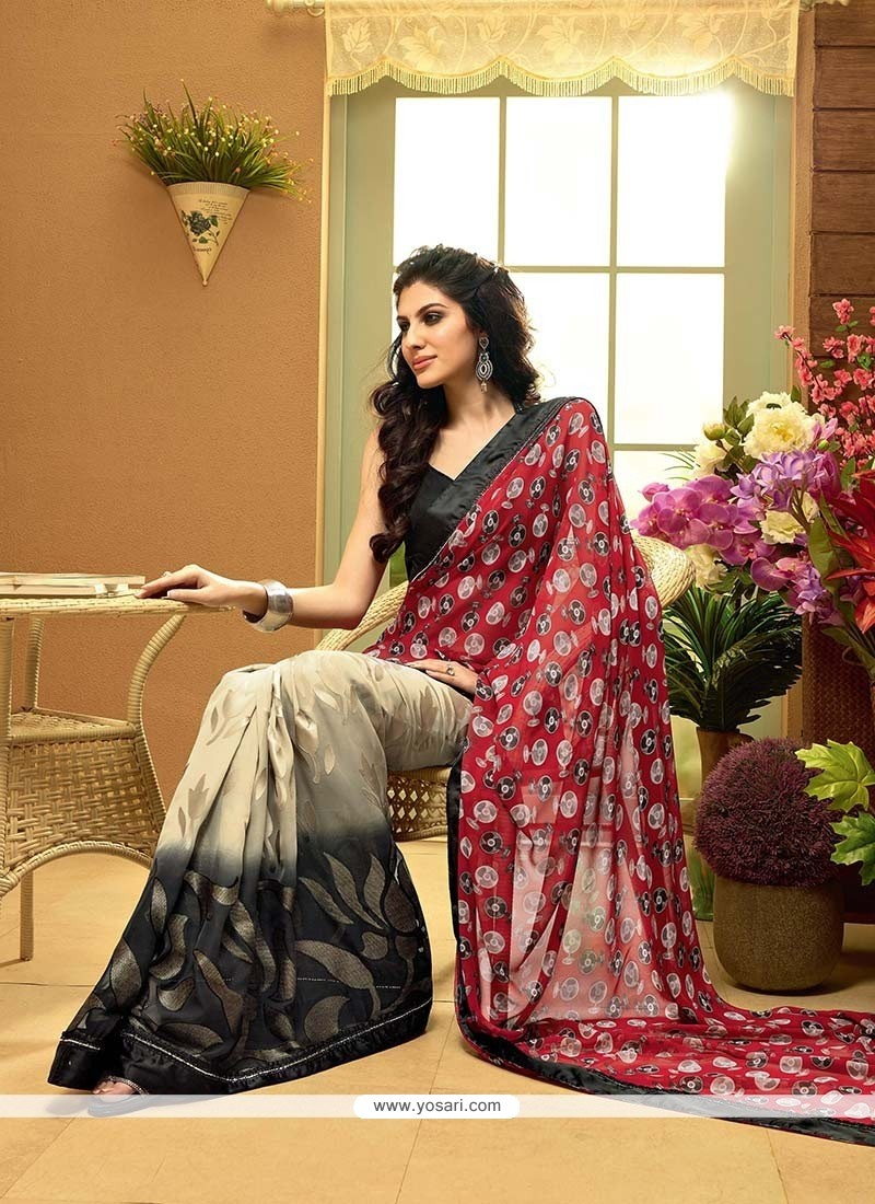 Galvanizing Multicolor Shaded Faux Georgette Saree