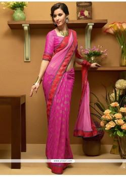 Girlish Dark Pink Shaded Crystals Enhanced Georgette Saree