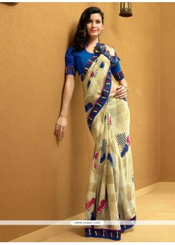 Magnificent Beige Shaded Chess Board Printed Georgette Saree