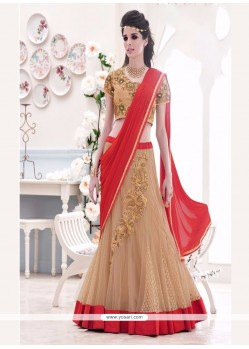 Arresting Net Embroidered Work Lehenga Saree