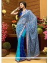 Imperial Blue And Off White Shaded Faux Chiffon Saree