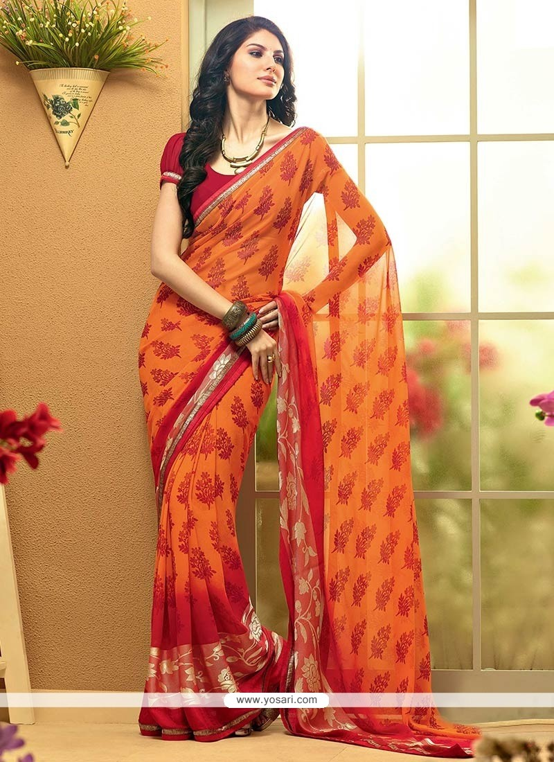 Groovy Orange And Red Shaded Faux Georgette Printed Saree