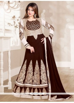 Cute Georgette Brown Embroidered Work Anarkali Salwar Kameez