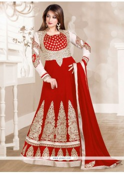 Flamboyant Red Anarkali Salwar Kameez