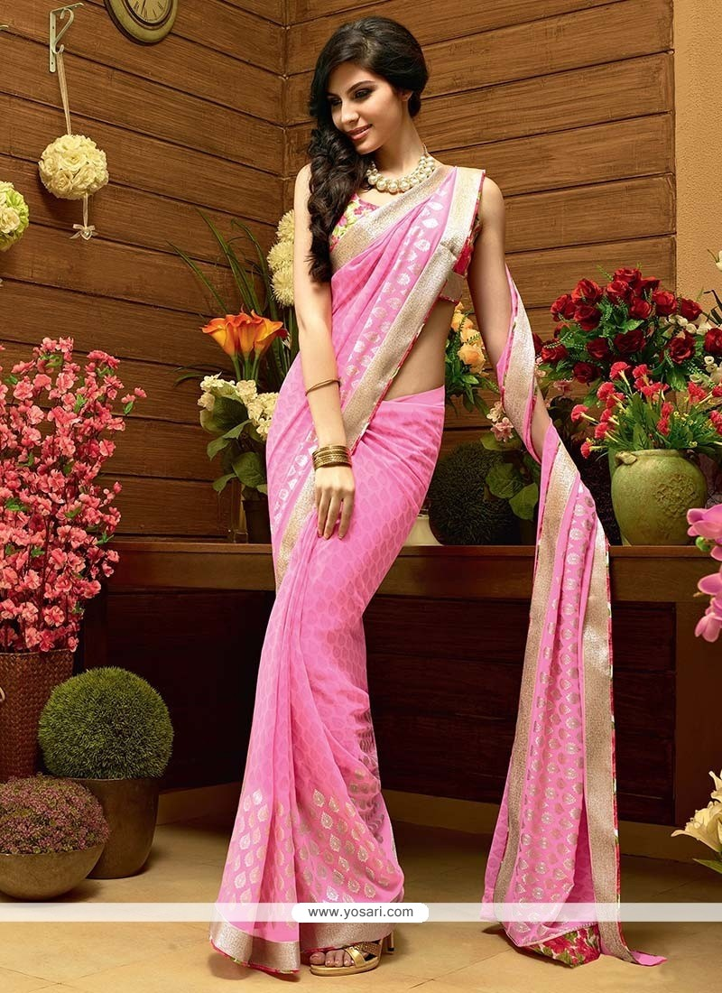 Perfect Pink Faux Georgette Printed Saree
