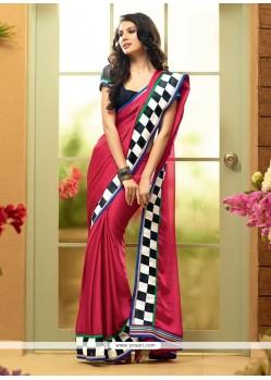 Flawless Pink Shaded Faux Chiffon Plain Saree