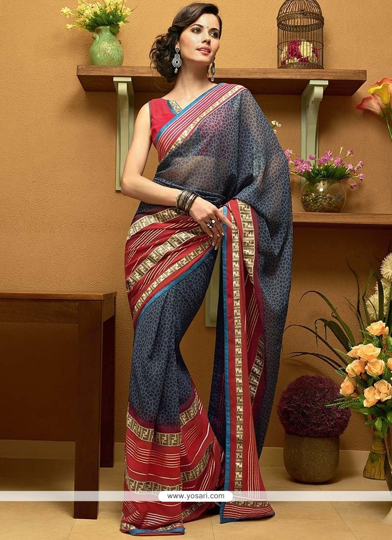 Flawless Grey Shaded Border Work Faux Georgette Saree