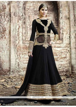 Gilded Patch Border Work Georgette Black Anarkali Salwar Kameez