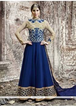 Sensible Embroidered Work Georgette Blue Anarkali Salwar Kameez