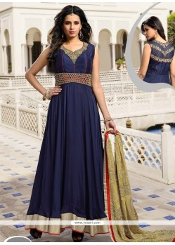Jazzy Satin Patch Border Work Anarkali Salwar Kameez