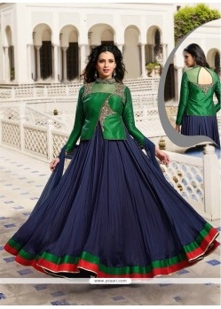 Navy Blue Raw Silk Designer Suit