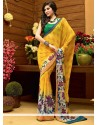 Bedazzling Yellow And Off White Shaded Faux Georgette Printed Saree