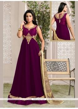 Magnetize Resham Work Purple Anarkali Salwar Kameez