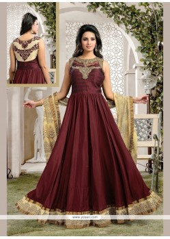 Sensational Art Silk Patch Border Work Anarkali Salwar Kameez