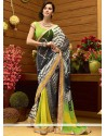 Excellent Multicolor Faux Georgette Checker Print Saree