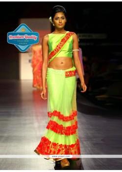 Manish Malhotra Parrot Green Net Saree