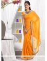 Luxurious Orange Faux Chiffon Saree