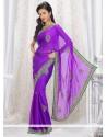 Deserving Violet Shaded Satin Saree